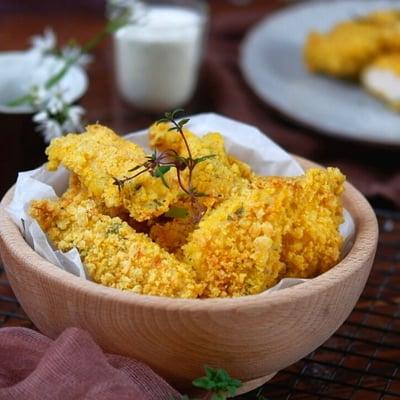 Gluténmentes, kukoricapelyhes rántotthús narancsosmártással