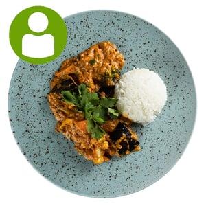 Zöldséges-padlizsános masala jázmin rizzsel (450g)